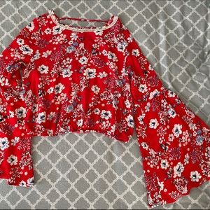 Tops - 🌿 Red Floral Bell Sleeve Top